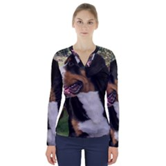 Greater Swiss Mountain Dog V Neck Long Sleeve Top