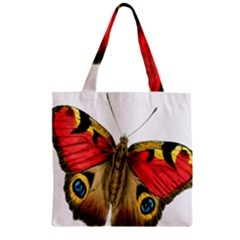 Butterfly Bright Vintage Drawing Zipper Grocery Tote Bag