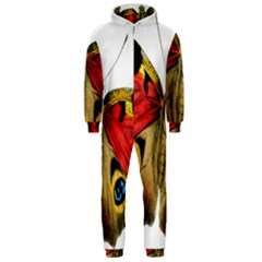 Butterfly Bright Vintage Drawing Hooded Jumpsuit (men)
