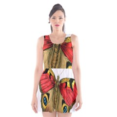 Butterfly Bright Vintage Drawing Scoop Neck Skater Dress