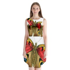 Butterfly Bright Vintage Drawing Sleeveless Chiffon Dress