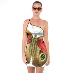 Butterfly Bright Vintage Drawing One Soulder Bodycon Dress