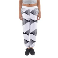 Curves Pattern Black On White Women s Jogger Sweatpants by CrypticFragmentsColors