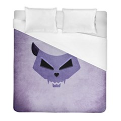 Purple Evil Cat Skull Duvet Cover (full/ Double Size) by CreaturesStore