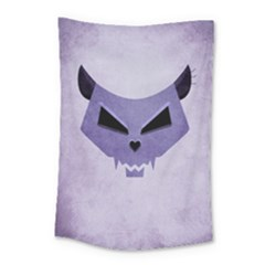 Purple Evil Cat Skull Small Tapestry by CreaturesStore