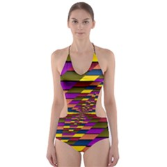Autumn Check Cut Out One Piece Swimsuit