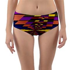 Autumn Check Reversible Mid Waist Bikini Bottoms