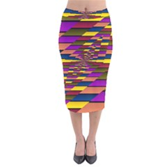 Autumn Check Velvet Midi Pencil Skirt