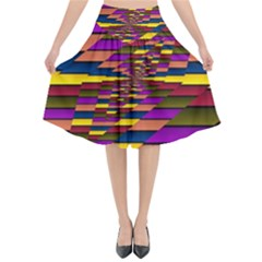 Autumn Check Flared Midi Skirt