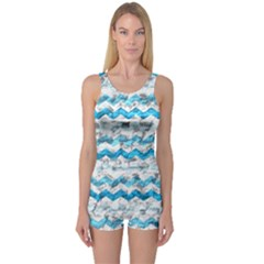 Baby Blue Chevron Grunge One Piece Boyleg Swimsuit
