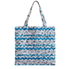Baby Blue Chevron Grunge Grocery Tote Bag by designworld65
