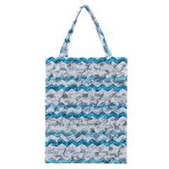 Baby Blue Chevron Grunge Classic Tote Bag by designworld65