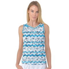 Baby Blue Chevron Grunge Women s Basketball Tank Top