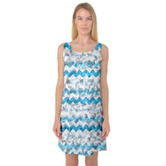 Baby Blue Chevron Grunge Sleeveless Satin Nightdress