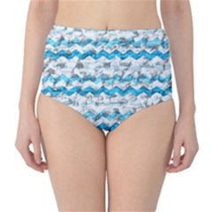 Baby Blue Chevron Grunge High Waist Bikini Bottoms