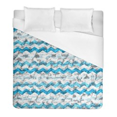 Baby Blue Chevron Grunge Duvet Cover (full/ Double Size)