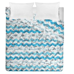 Baby Blue Chevron Grunge Duvet Cover Double Side (queen Size)