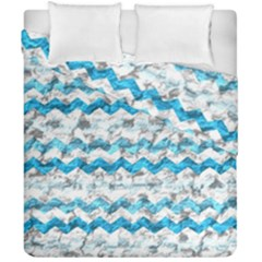 Baby Blue Chevron Grunge Duvet Cover Double Side (california King Size)