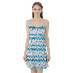 Baby Blue Chevron Grunge Satin Night Slip