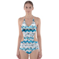 Baby Blue Chevron Grunge Cut Out One Piece Swimsuit