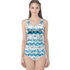 Baby Blue Chevron Grunge One Piece Swimsuit