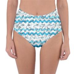 Baby Blue Chevron Grunge Reversible High Waist Bikini Bottoms