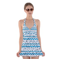 Baby Blue Chevron Grunge Halter Swimsuit Dress