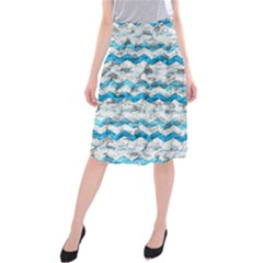 Baby Blue Chevron Grunge Midi Beach Skirt