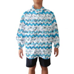 Baby Blue Chevron Grunge Wind Breaker (kids)