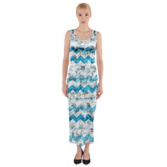 Baby Blue Chevron Grunge Fitted Maxi Dress