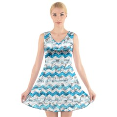 Baby Blue Chevron Grunge V Neck Sleeveless Skater Dress