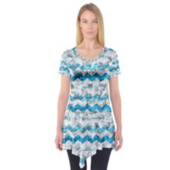 Baby Blue Chevron Grunge Short Sleeve Tunic