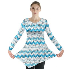 Baby Blue Chevron Grunge Long Sleeve Tunic
