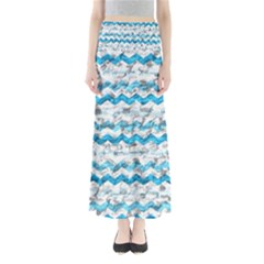 Baby Blue Chevron Grunge Full Length Maxi Skirt
