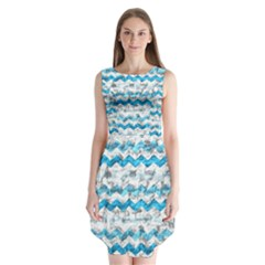 Baby Blue Chevron Grunge Sleeveless Chiffon Dress