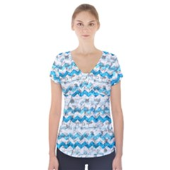 Baby Blue Chevron Grunge Short Sleeve Front Detail Top