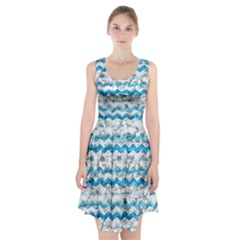 Baby Blue Chevron Grunge Racerback Midi Dress