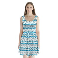 Baby Blue Chevron Grunge Split Back Mini Dress