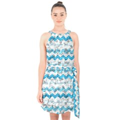 Baby Blue Chevron Grunge Halter Collar Waist Tie Chiffon Dress