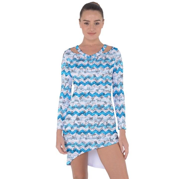 Baby Blue Chevron Grunge Asymmetric Cut-Out Shift Dress