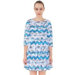 Baby Blue Chevron Grunge Smock Dress
