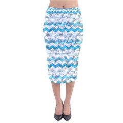 Baby Blue Chevron Grunge Velvet Midi Pencil Skirt