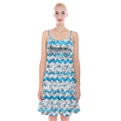 Baby Blue Chevron Grunge Spaghetti Strap Velvet Dress