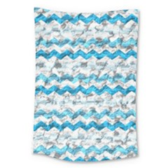 Baby Blue Chevron Grunge Large Tapestry