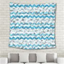 Baby Blue Chevron Grunge Square Tapestry (Large) View2