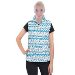 Baby Blue Chevron Grunge Women s Button Up Puffer Vest