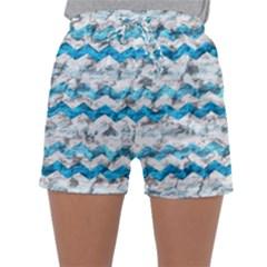 Baby Blue Chevron Grunge Sleepwear Shorts