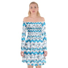 Baby Blue Chevron Grunge Off Shoulder Skater Dress