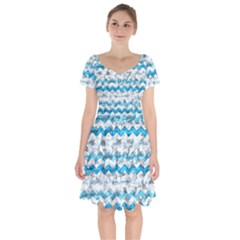 Baby Blue Chevron Grunge Short Sleeve Bardot Dress