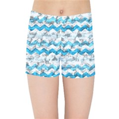 Baby Blue Chevron Grunge Kids Sports Shorts